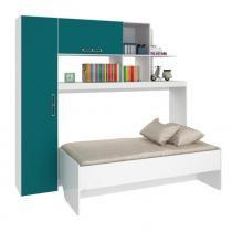 Estação de Dormir / Escritório - Sistema Retrátil - Cama, Armários, Prateleiras e Escrivaninha Verde - Art In Moveis