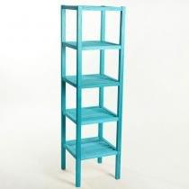 Estante 5 Prateleiras Aquiles Stain Azul 1,40x38,5 cm - Branco - Mão e Formão