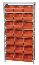 Estante gaveteiro metálica 1500xx350x965cm com 28 gavetas n.7 vermelho - Worker -