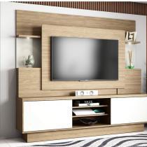 Estante Home para TV até 55 Polegadas com LED 2 Portas de Correr Aron Smart Linea Brasil Avelã/Off White -