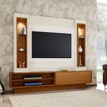 Estante Home Theater para Tv até 46 Polegadas 1 Porta de Correr com LED Off White/Frejo - Marrom - Dalla Costa