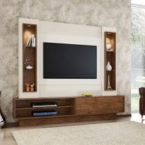Estante Home Theater para Tv até 46 Polegadas 1 Porta de Correr com LED Off White/Nobre - Marrom - Dalla Costa