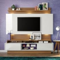 Estante Home Theater para Tv até 55 Polegadas 2 Portas de Correr Off White/Freijo - Marrom - Dalla Costa