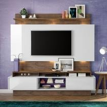 Estante Home Theater para Tv até 55 Polegadas 2 Portas de Correr Off White/Nobre - Marrom - Dalla Costa
