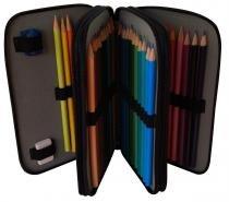 Estojo Escolar Arplas, de 3 zíperes, vazio, para 46 lápis, em Couro 8ac358617c
