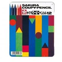Estojo metálico com 12 cores de giz de cera integral sakura -