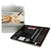 Estojo metálico para desenho life drawning art set royal  langnickel 25 peças - rset-art2713 -
