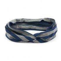 Faixa Turbante Listrada Azul e Cinza - Bijoulux