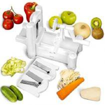 Fatiador espiral cortador ralador spiralizer com 3 laminas para fazer macarrao de legumes e vegetais - Faça  resolva