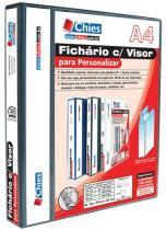 Fichário Chies com Visor para Personalizar - 2 Argolas - A4 - Preta - Ferragem 15 D - Dorso 3 cm1889-7 -