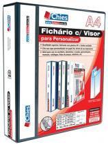 Fichário Chies com Visor para Personalizar - 4 Argolas - A4 - Preta - Ferragem 40 D - Dorso 6 cm 1401-1 -