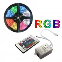 Fita de led colorida rgb rolo 5 metros  c/ fonte 12v e controle - Oem