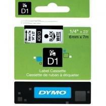 Fita Dymo D1 43613 Poliéster 6mm Preto/Branco -