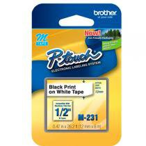 Fita Rotulador Brother 12mm M-231 Preto/Branco -