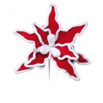Flor Artificial Decoração Natal Poinsetia Veludo Vermelha - Cromus