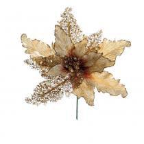 Flor Decoração Natal Poinsetia Dourado - Cromus