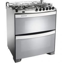 Fogão 5 Bocas Brastemp Clean Duplo Forno BFD5N - Inox Forno Duplo Grill Acendimento Automático