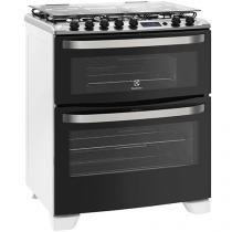 Fogão 5 Bocas Electrolux 76BDR Forno Duplo Grill - Tripla-Chama Timer Acendimento Automático Branco
