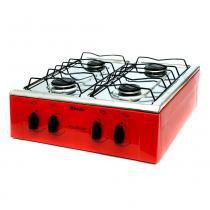 Fogão a Gás 4 Bocas Asiático Vermelho - Braslar Eletrodomésticos