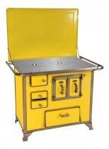 Fogão a lenha gabinete n2 renaissance com tampa chaminé lado direito, cor amarela - venax -