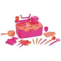 Fogão  Cia Infantil com Acessórios - Roma Brinquedos Maleta