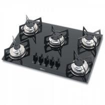 Fogão cooktop fischer 5 bocas a gás de mesa em vidro preto - Fischer