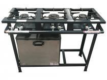 Fogao industrial 03 bocas baixa pressao com forno p. - 02 q.s. 01 q.d - linha ativo - itajobi fogoes - Itajobi fogões