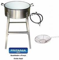 Fogão Pasteleiro Gás Inox Tacho Esmaltado Peneira Nº22 8106 - Fritania