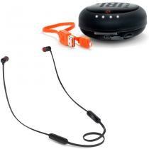 Fone De Ouvido Bluetooth JBL T110BT Preto Com Case Carregador -