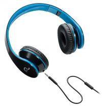 Fone de ouvido com microfone para celular preto e azul multilaser ph113 -