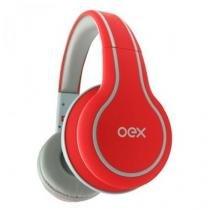 Fone de Ouvido Headset Impulse Estilo DJ com Microfone OEX Vermelho - HP105 - Newex