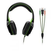 Fone de Ouvido Headset Warrior USB Dual Shock Green Led Multilaser - PH180 -