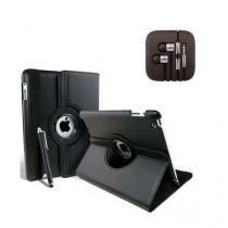 Fone de Ouvido Metalizado Cabo Super Reforçado + Capa Giratoria para iPad Mini Preto - Ukimix