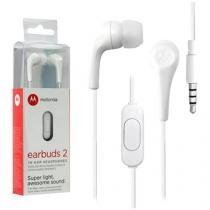 Fone de Ouvido Motorola Intra Auricular - com Microfone Esportivo Branco Earbuds 2
