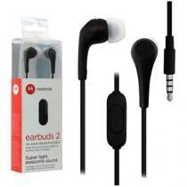 Fone de Ouvido Motorola Intra Auricular - com Microfone Esportivo Preto Earbuds 2