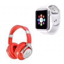 0f837876c9f Fone De Ouvido Motorola Pulse Max Over SH004 RED Com Relógio A1 Smartwatch  Android Bluetooth -