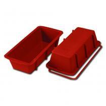 Forma assadeira de silicone para bolos e pudins terracota plum cake 26x10cm prana -