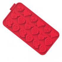 Forma de chocochips hearts siliconezone vermelha -