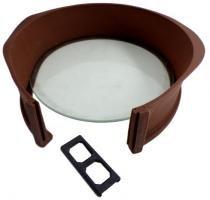 Forma de silicone redonda com fundo de vidro Cor: Marrom - Importado