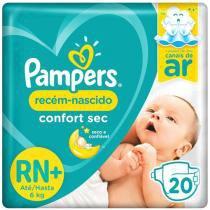 Fralda Pampers Confort Sec Tam. RN+ - 0 a 6kg 20 Unidades