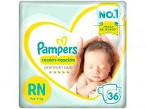 Fralda Pampers Premium Care RN - Até 4kg 36 Unidades