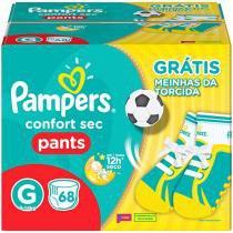 Fraldas Pampers Confort Sec Pants - Tam G 68 Unidades com 1 Par de Meia
