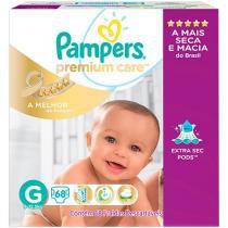 Fraldas Pampers Premium Care Tam G  - 68 Unidades