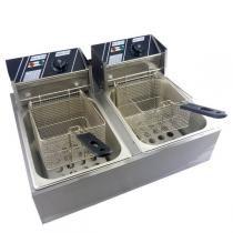 Fritadeira elétrica profissional 10l  duas cubas de 5 litros stevan metal 127v -