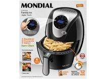 Fritadeira Elétrica Sem Óleo/Air Fryer Mondial - Family Inox Preta 4L com Timer