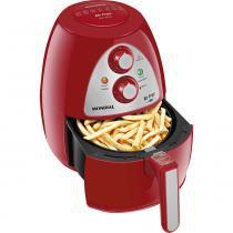 Fritadeira sem Óleo Mondial com Timer Air Fryer Family Inox Vermelha 127V -