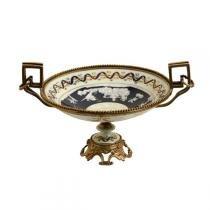 Fruteira decorativa de porcelana com bronze - Maria pia casa