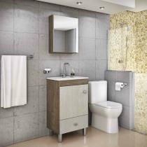 Gabinete armário p/ banheiro c/ pés pia e espelheira  modelo lyon 500  balcão + cuba + espelho - Gaam