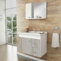 Gabinete armário p/ banheiro c/ pia e espelheira  pop 600 susp. grígio  balcão + cuba + espelho - Gaam