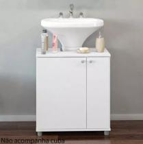 Gabinete balcão para banheiro 2 portas politorno branco - Politorno